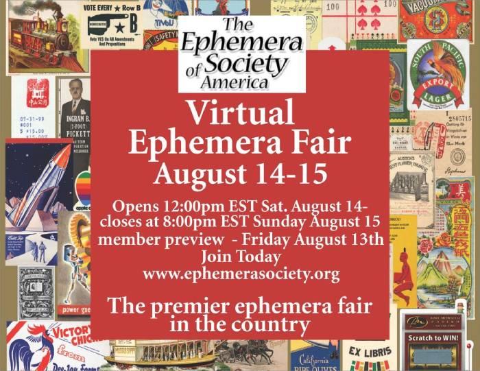 Ephemera 40 Virtual Ephemera Fair: March 19-22, 2021