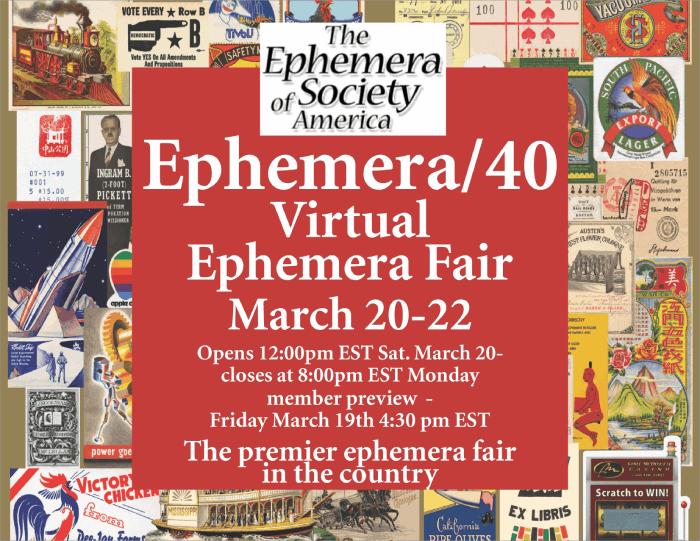 Ephemera Society of America - 2021 Virtual Conference