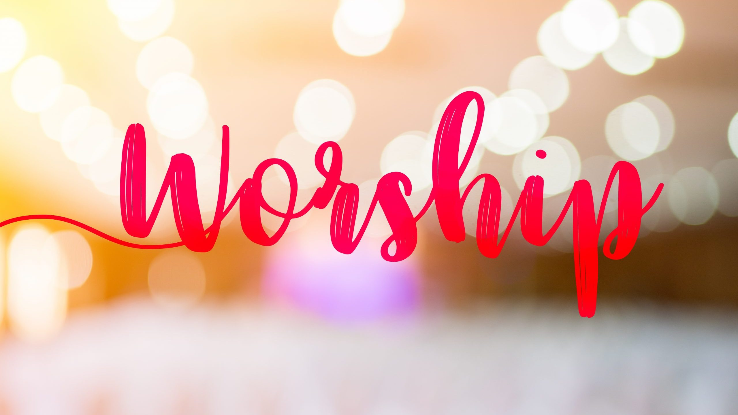 """The word """"Worship"""" and the hall in church christian music concert."""