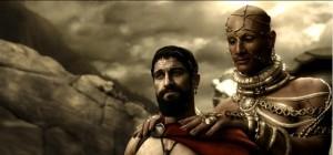 gerard butler as leonidas and rodrigo santoro as xerxes in 300 2007 300x140