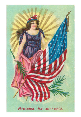 pt 00018 cmemorial day greetings columbia and flag posters