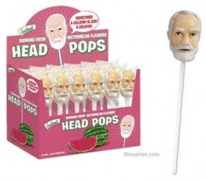Watermelon Flavored Sigmund Freud Head Lollipops 300x262