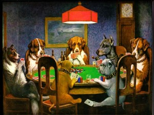 dogs playing poker 300x225
