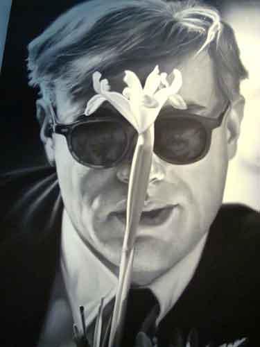 warhol with flower 1963