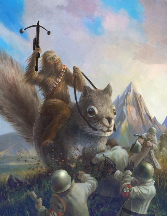 chewbacca on a giant squirrel fighting nazis youcallthatamovie 560x724