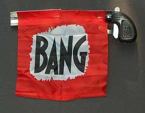 bang gun with flag