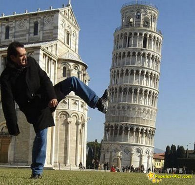 pisa leaning tower illusion
