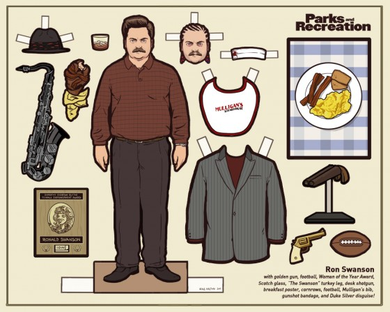 Ron Swanson Paper Doll 560x448
