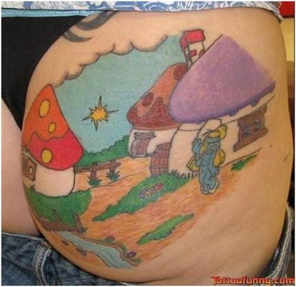 Smurfette Ass Tattoo