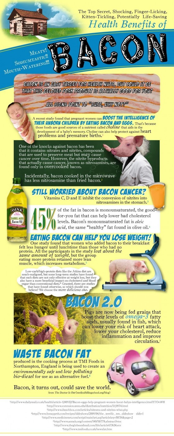 The Health Benefits of Bacon Infographic 378 full 560x1403