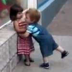 Little Kid Determined To Get A Kiss