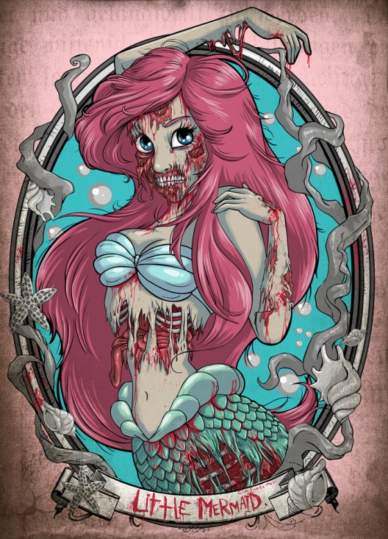 zombie little mermaid 560x776