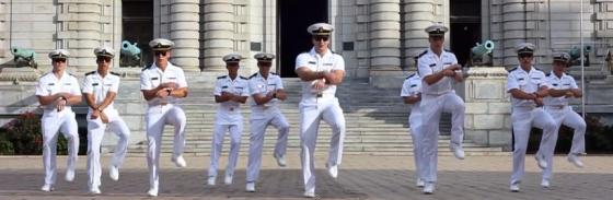USNA Midshipment Gangnam Style 560x183