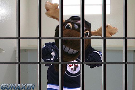 Winnipeg Jets Mascot Mick E Moose Jail