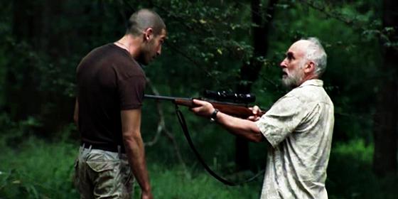 Dale points gun rifle at shane walking dead jon bernthal jeffr