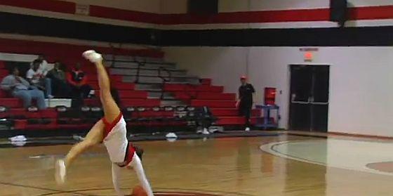 Cheerleader half court shot
