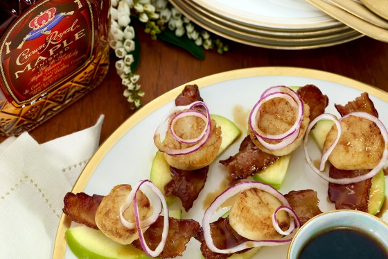 Maple Bacon Scallop and Apple Stacks 560x373
