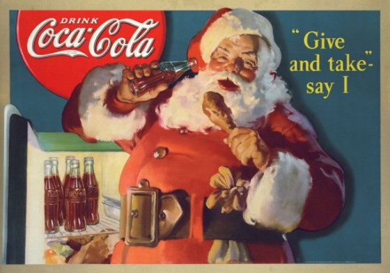 coca cola santa claus raiding the refrigerator 1937 610x428 560x392