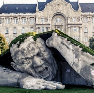 Gigantic Man Bursts from the Ground in Budapest