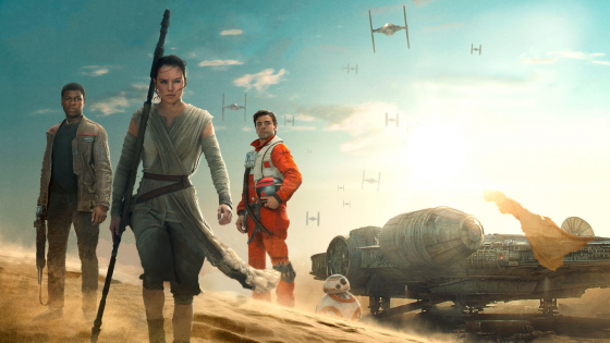 Star Wars Episode VII The Force Awakens HD Wallpaper Finn Rey and Poe 560x315