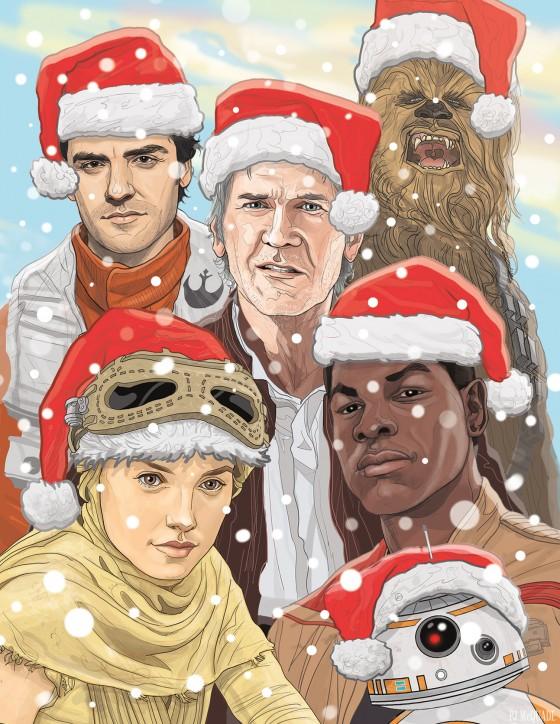 Star Wars The Force Awakens Christmas card PJ McQuade 1 560x724