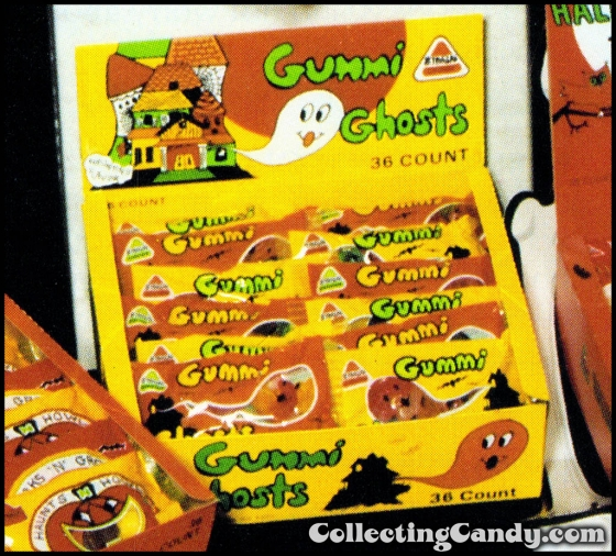 CC Stark Gummi Ghosts 36 count display box photo from Halloween candy trade ad July 1985 560x506
