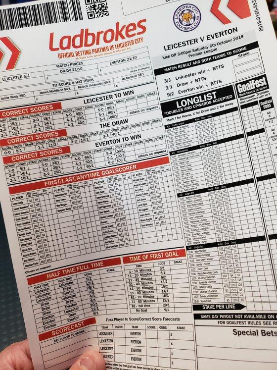 Ladbrokes bettting slip King Power Stadium 560x747