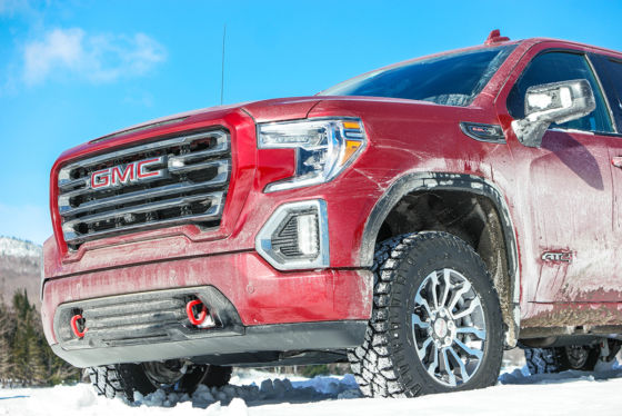2019 GMC Sierra AT4 Red on a Vermont Frozen Lake 560x374