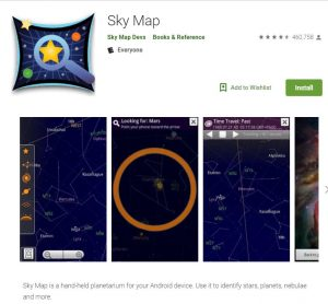 Sky Map app for looking at an Alabama starry sky