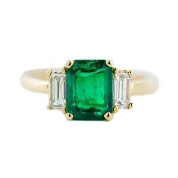 Three Stone Emerald Ring
