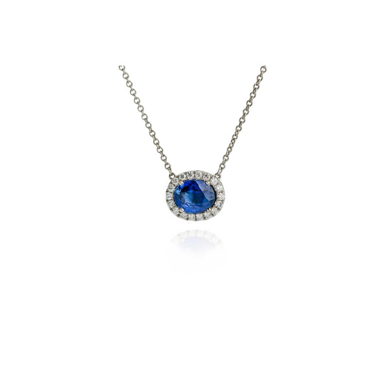 Hand-Forged by Henry C. Reid Sapphire and Diamond Halo Necklace