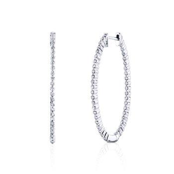 Large Oval Diamond Hoops