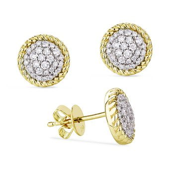 Round Pave Diamond Earrings