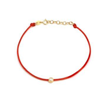 Red Cord Single Diamond Bracelet