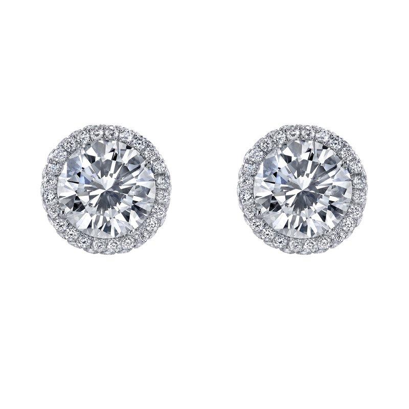 Crafted for Henry C. Reid Diamond Halo Stud Earrings