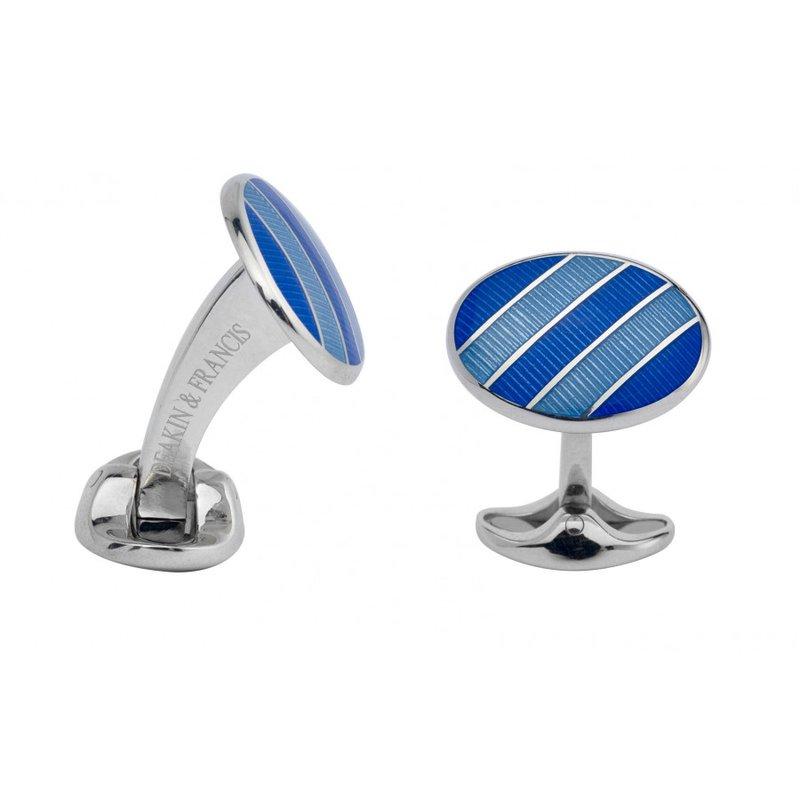 Deakin & Francis Royal Blue & Denim Blue Enamel Cufflinks
