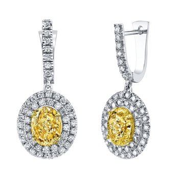 Yellow Diamond Dangle Drop Earrings