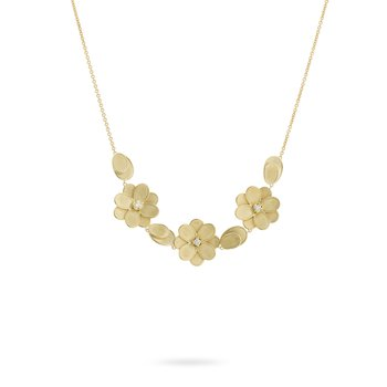 Gold and Diamond Three Flower Necklace