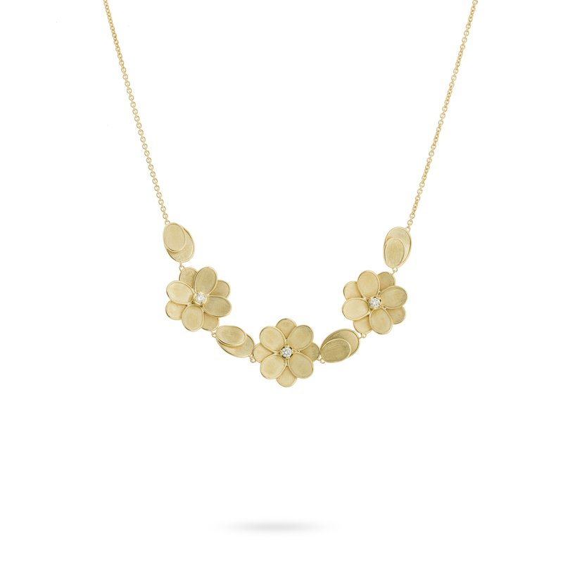 Marco Bicego Gold and Diamond Three Flower Necklace