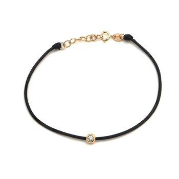 Black Cord Single Diamond Bracelet