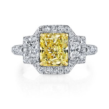 Fancy Light Yellow Radiant Cut Engagement Ring