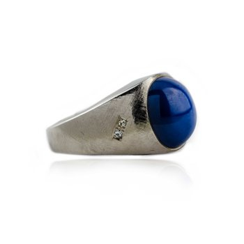 Gents Synthetic Star Sapphire Ring in White Gold