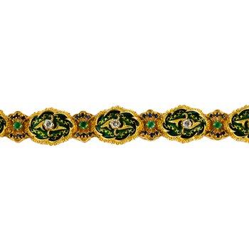 Italian Green Enamel Bracelet