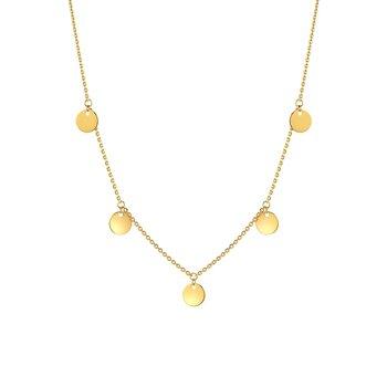 Gold Fringe Discs Necklace
