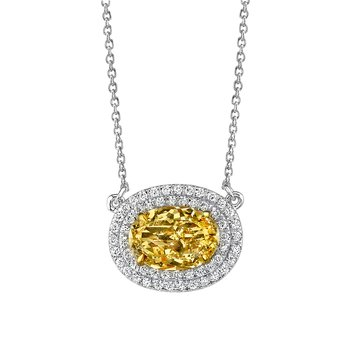 East West Yellow Diamond Pendant
