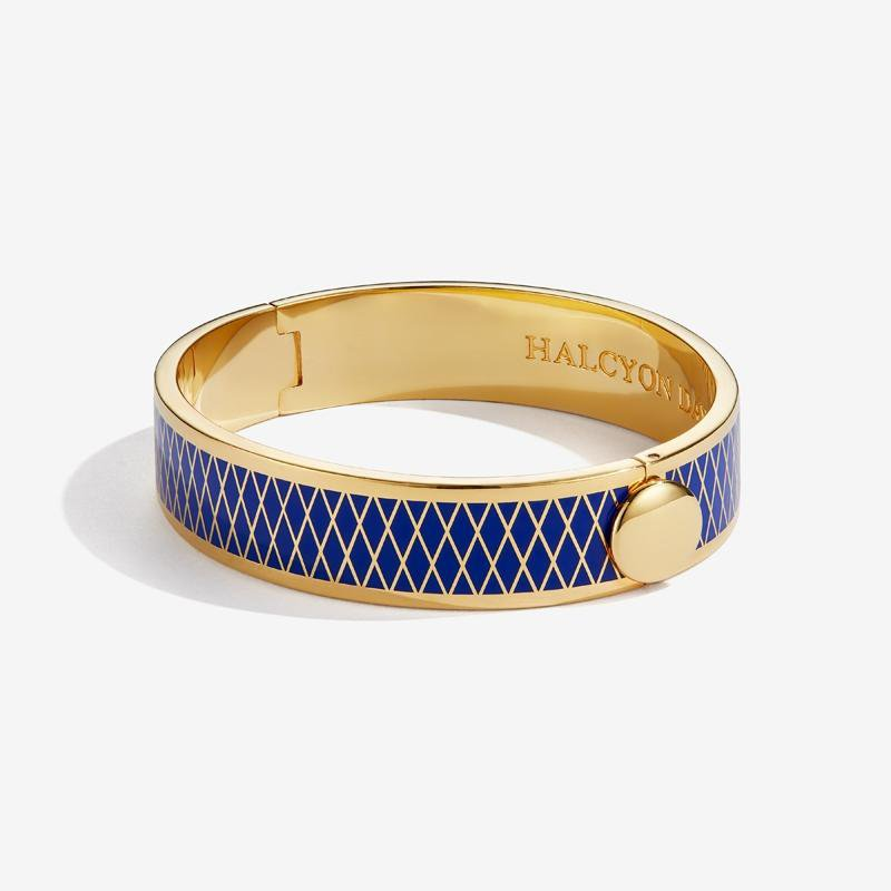 Halcyon Days Parterre Deep Cobalt & Gold Bangle