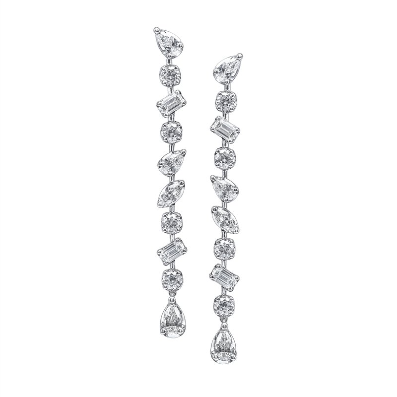 Long Dangle Diamond Earrings