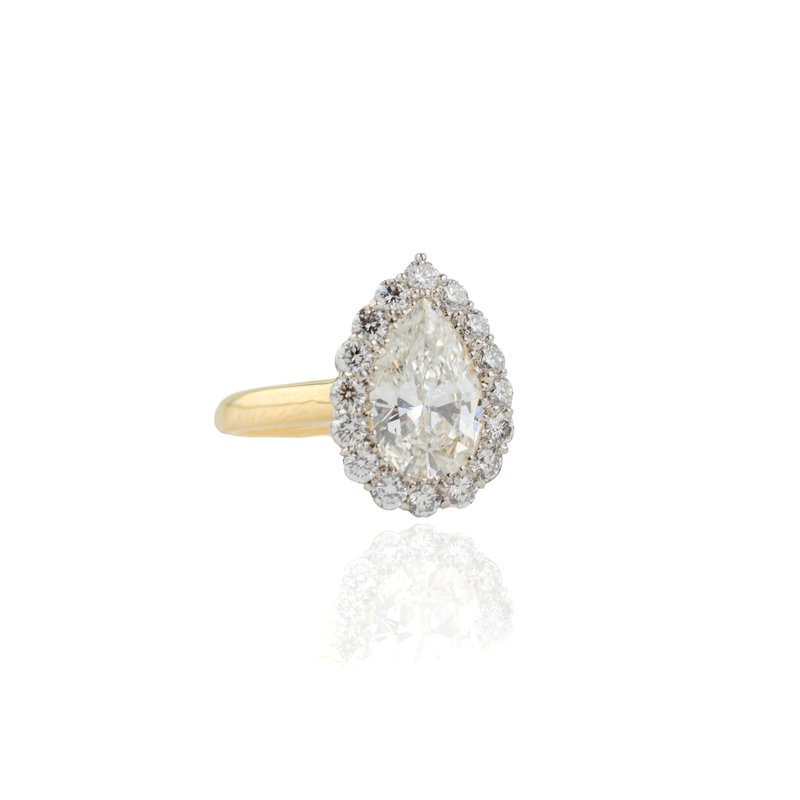 Hand-Forged by Henry C. Reid Pear Shaped Diamond Engagement Ring