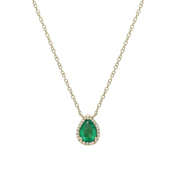 Diamond Emerald Pear Necklace