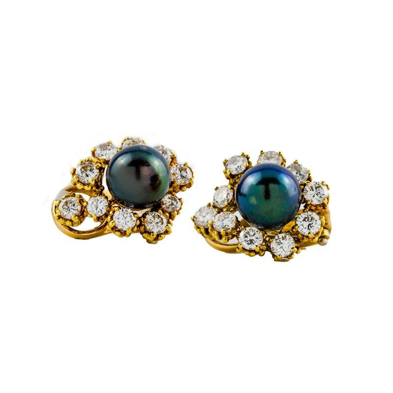 Estate Jewelry by Henry C. Reid Tahitian Pearls Clip-on Earrings